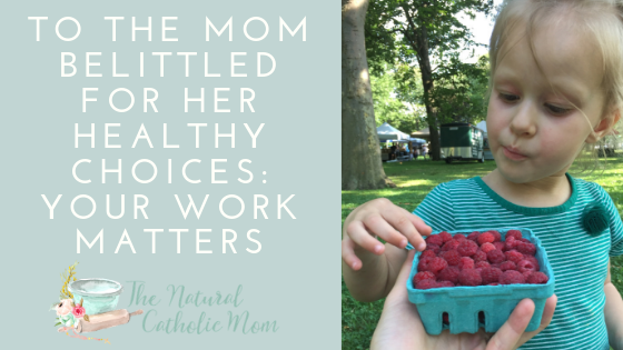 To The Mom Belittled For Her Healthy Choices: Your Work Matters